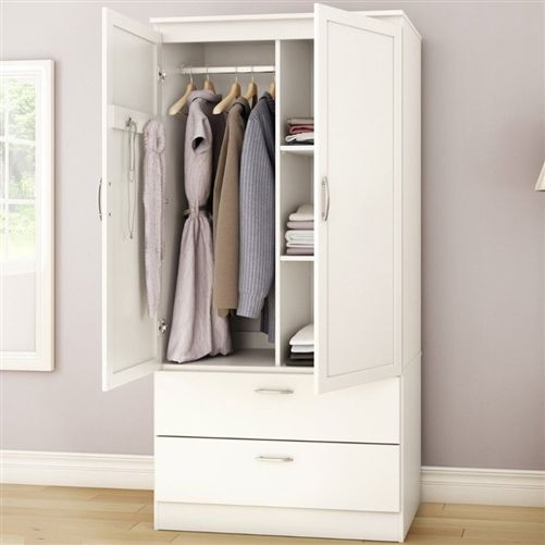White Armoire Bedroom Clothes Storage Wardrobe Cabinet With 2 Drawers Lemari Pakaian Lemari Putih Ide Penyimpanan