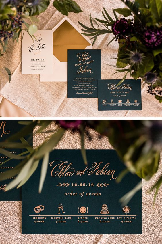 """Chic Foliage"" Wedding invitation"