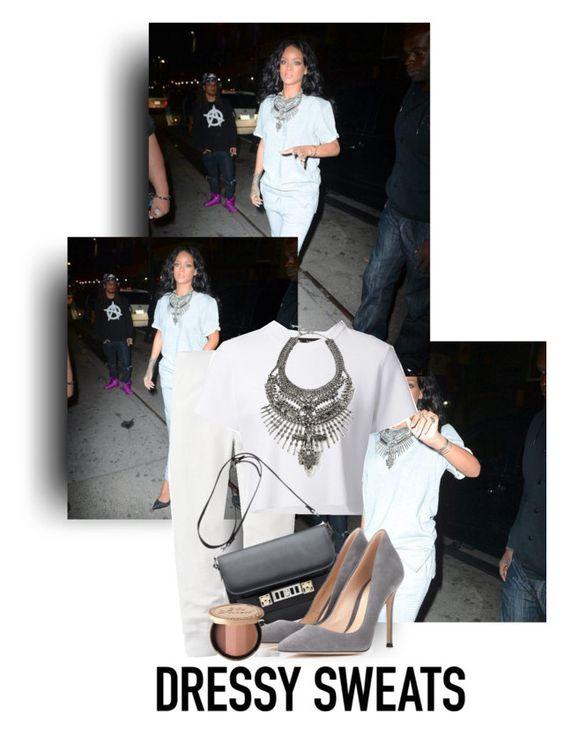 """Rihanna's Dressy Joggers-Style"" by woahhcharli ❤ liked on Polyvore"