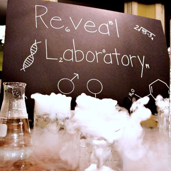 Science-Themed Gender Reveal Party - so clever! #genderreveal