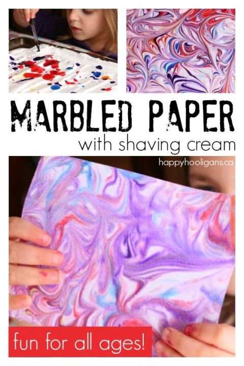 Marbled Paper with Shaving Cream - fun and easy art project for all ages - Happy Hooligans