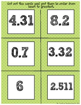 Ordering Decimals Sort Freebie!