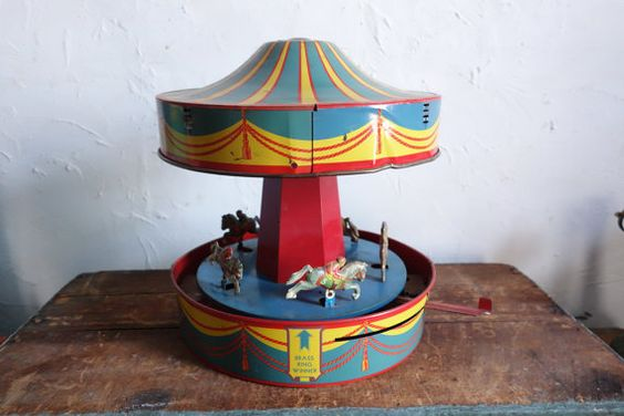 BIG 1930s Wind Up Carousel Tin Toy Sunny Andy Merry Go by EmporioX