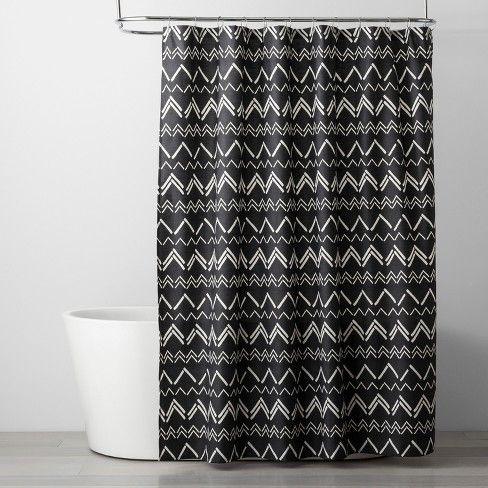 72 X72 Chevron Shower Curtain Black Room Essentials Target