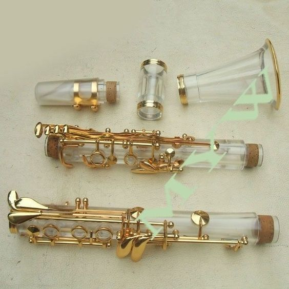 clear clarinet kit soprano Bb key golden plated accessories transparent
