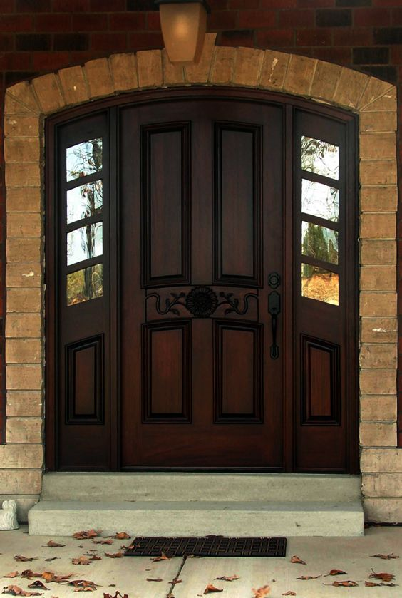 Dark Cherry Wood Front Door