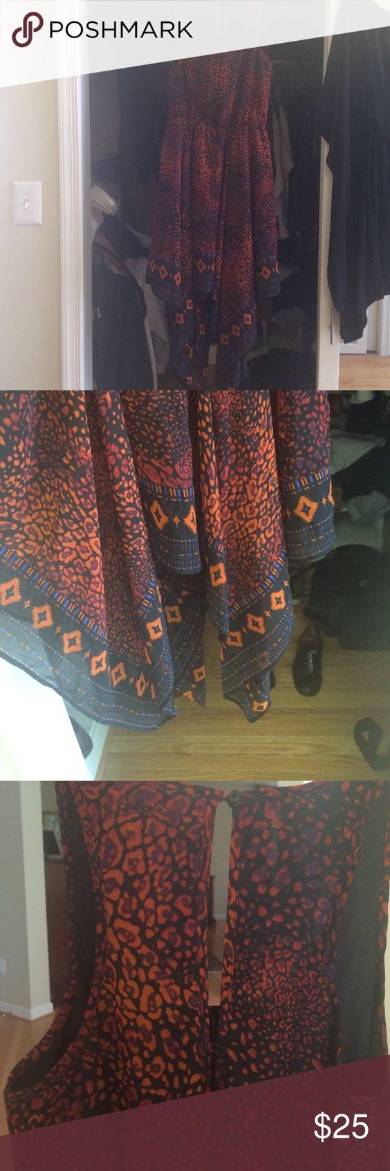 Ecote cheetah-like handkerchief dress Like-new Ecote handkerchief dress Urban Outfitters Dresses Asymmetrical