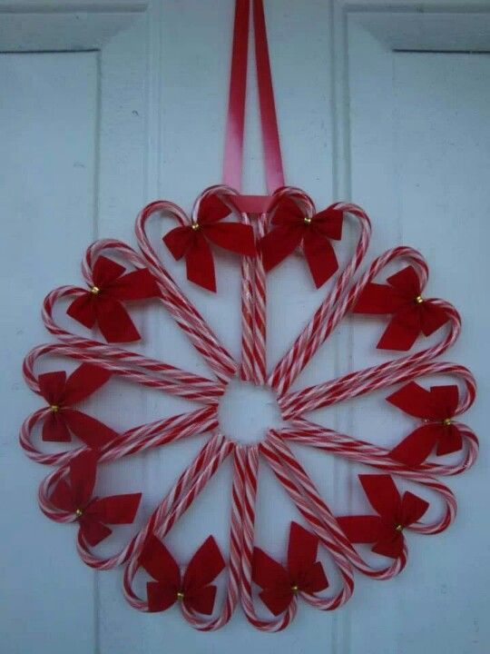 Didn't see instructions but looks easy peasy - candy canes + ribbon + hot glue = darling wreath. :)  I think I might like to do little green ribbons instead of the red?