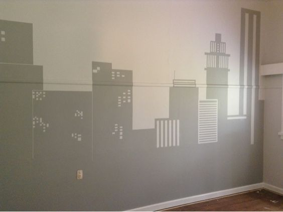 How to paint cityscapes and wall murals on pinterest for Cityscape wall mural