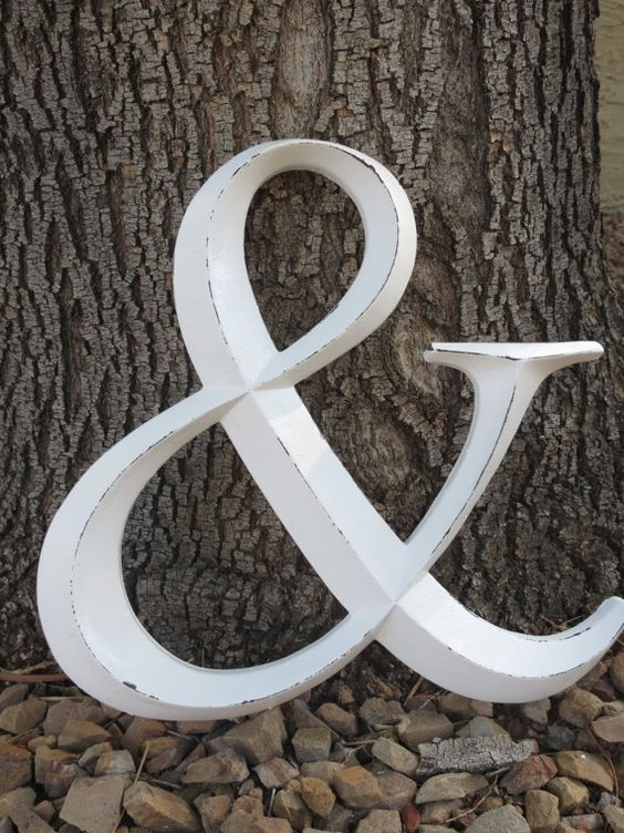 Ampersand/ Wedding Sign/ AND Symbol Sign/ Wall Letter/ Wedding Photo Booth Prop/Distressed Antique White