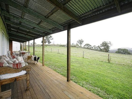 Simple Long Back Porch With Tin Roof Want