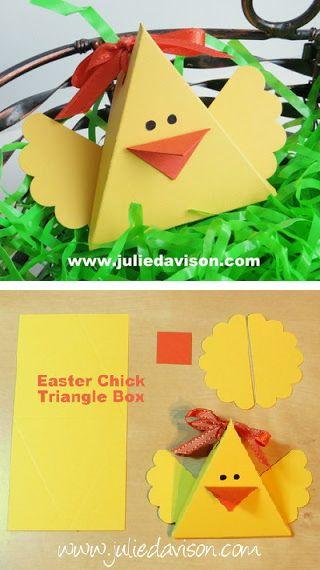 Julie Stamping Spot - Stampin 'Up! Ideas de proyectos Posted diario: Re-post: Triángulo de caja de taladro Arte Critters: Conejo de Pascua, polluelo y Más!
