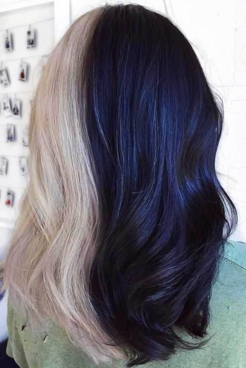 Half Green Half Blue Dyed Hair Peinados Hair Styles Multi Colored Hair Beautiful Hair