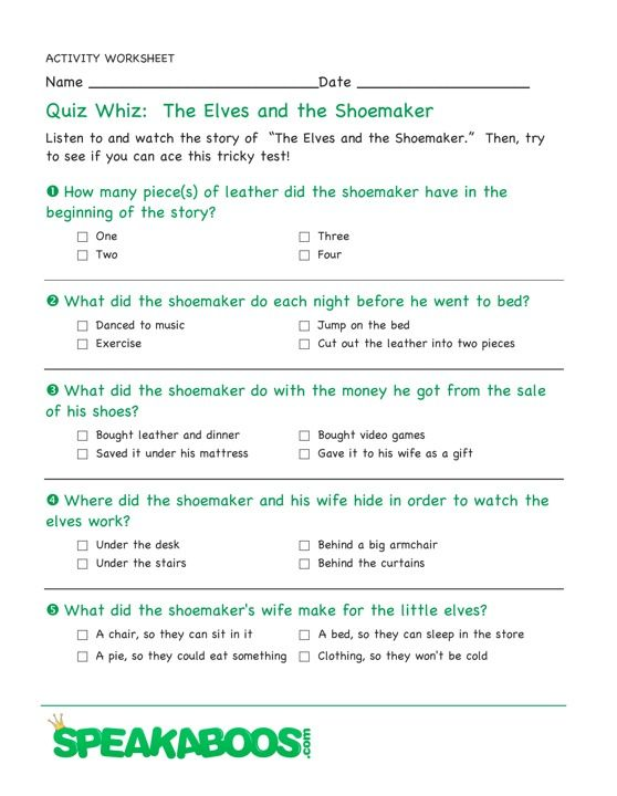 Quiz Whiz: The Elves and the Shoemaker | Speakaboos Worksheets ...