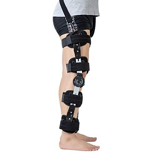 Hinged Rom Knee Brace With Strap Adjustable Medical Orth Https Www Amazon Com Dp B07h95l35m Ref Cm Sw R P Orthotics And Prosthetics Knee Brace Leg Braces
