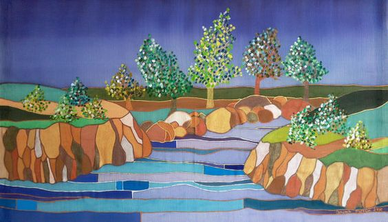 Silk Painting  Landscape 2  Original Artwork by OrdSilkPaintings, $250.00