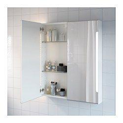 STORJORM Spiegelschrank m. 2 Türen+int. Bel., weiß - weiß - 80x14x96 cm - IKEA