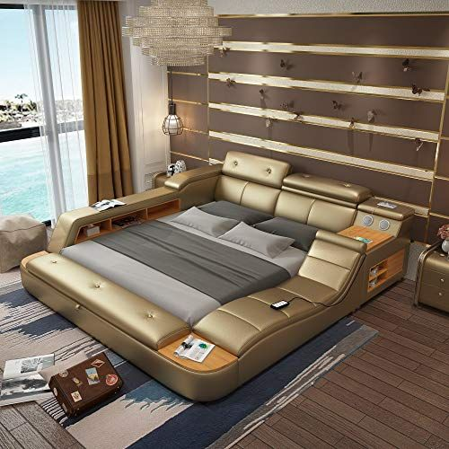 All In One Leather Double Bed Frame With Speakers Storage Safe