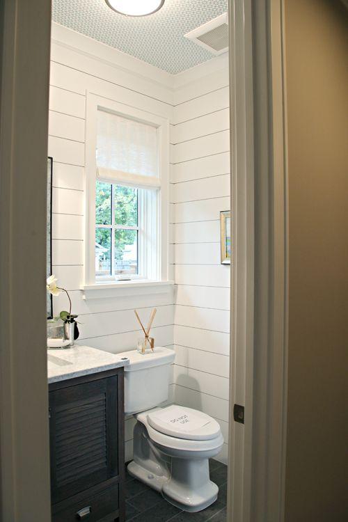 Powder barns sheds and tile on pinterest for Bathroom half wall tile