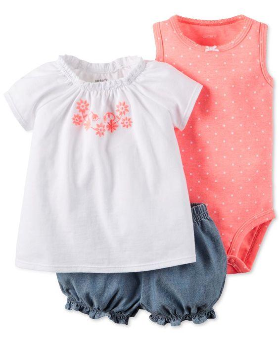 Carter's Baby Girls' 3-Piece Bodysuit, Top & Shorts Set