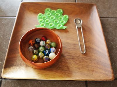 Marble Transfer with a mini spoon:
