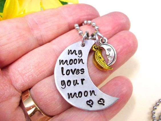 Moon Necklace Hand Stamped Charm Necklace My Moon by CharmAccents