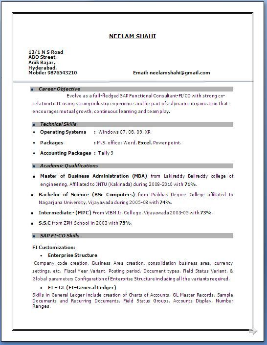 3 Year Experience Resume Format Resume Format In Word