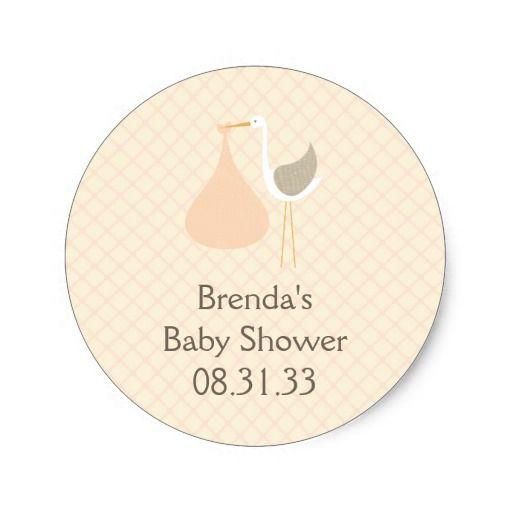 Peach Stork Baby Shower Sticker
