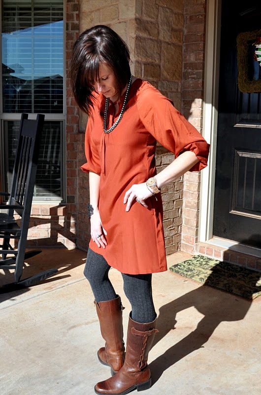 orange dress grey tights brown boots