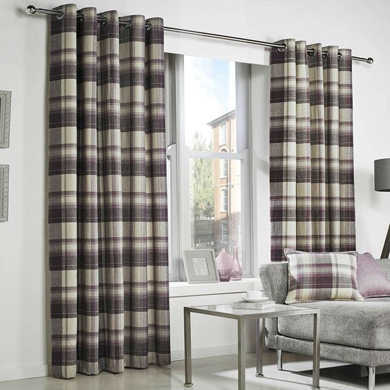 PURPLE TARTAN Check Curtains Highland Plum Plum Purple Natural ...