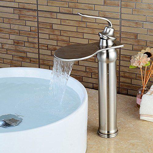 Wovier Brushed Nickel Waterfall Bathroom Sink Faucetsingle Handle