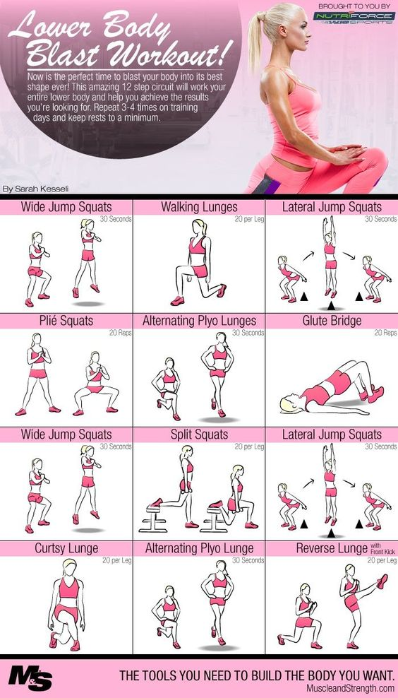 Intense Lower Body Blast Circuit Workout. Here is a 12 step circuit from Sarah Kesseli (certified Health Coach, Personal Trainer) that will work your entire