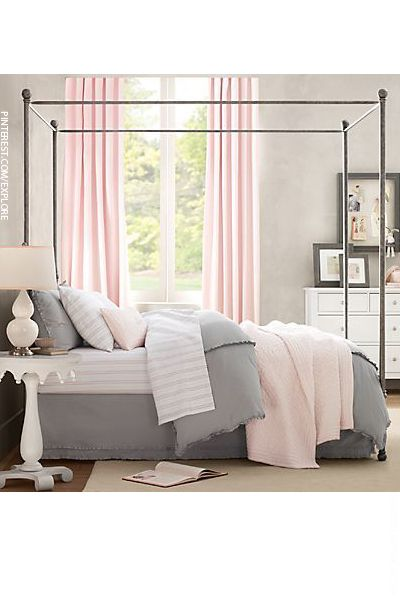A great example of the blush and grey combination in a bedroom.