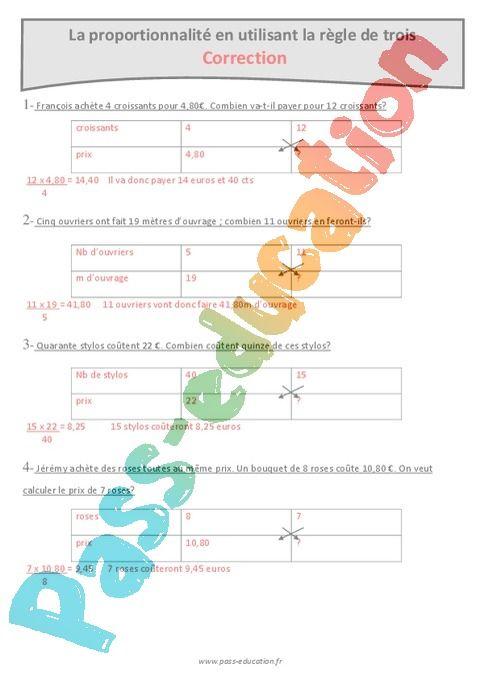 Proportionnalite En Utilisant La Regle De Trois Cm2 Exercices Corriges Pass Education Regle De Trois Proportionnalite Reglisse
