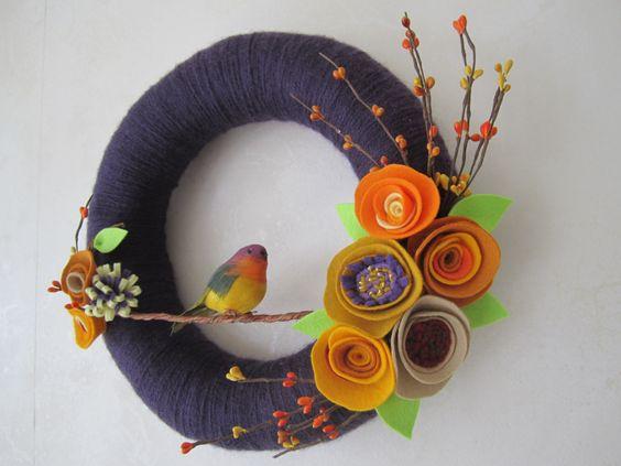 "Deep Purple Yarn Wreath with Bird 12"" Yellow Orange Felt Flowers - Mothers Day Gift. $42.00, via Etsy."