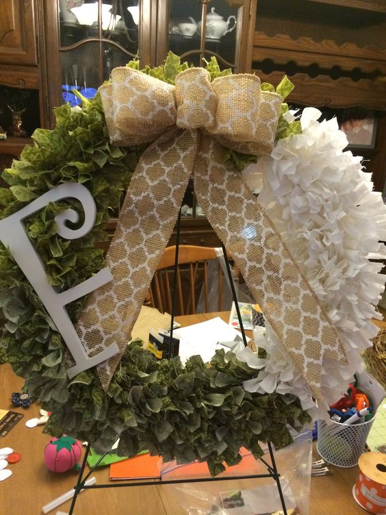 Greens and White rag wreath with custom initial.  http://dreamininburlap.wix.com/dreaminwreaths