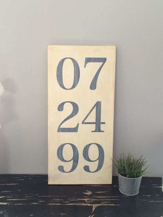 Hand Painted Anniversary Date Sign.  by EmbellishedLiving on Etsy