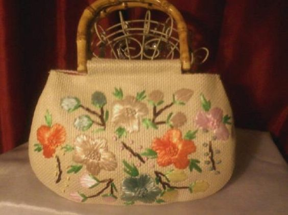 Woven Raffia Purse Straw Flowers Bamboo Handles Old Navy