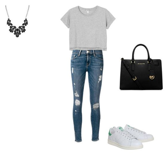 """""""For everyday"""" by ananas15-08 ❤ liked on Polyvore featuring Monki, Frame Denim, adidas and MICHAEL Michael Kors"""
