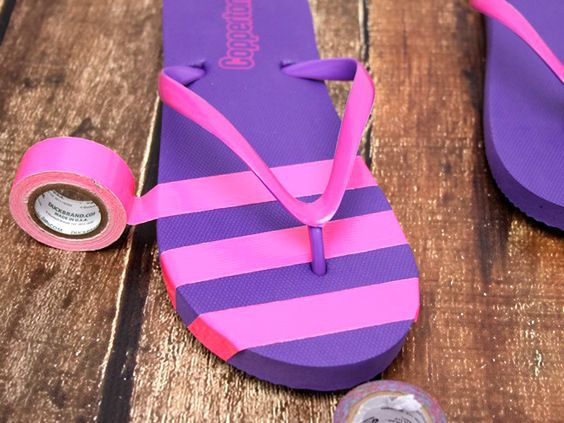 flip flops decorated with tape