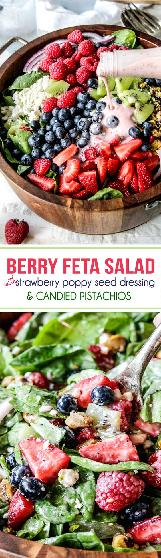 Berry Feta Spinach Salad with Creamy Strawberry Poppy Seed Dressing and CANDIED pistachios is so easy, delicious and beautiful for company, it is sure to become a new favorite!