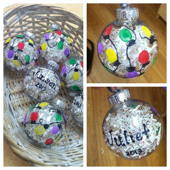 Preschool Christmas Gifts: Thumbprint Lights On A Paper