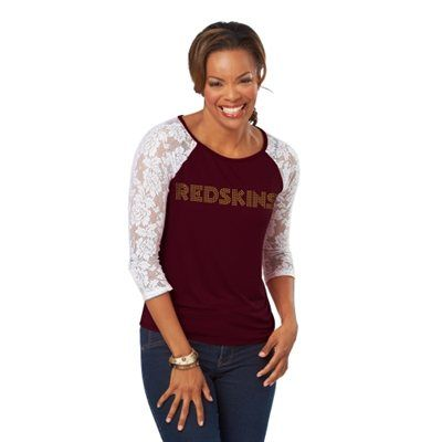 Washington Redskins Womens Heather Three-Quarter Sleeve Shirt - Burgundy/White Love the lace!