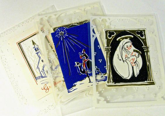 vintage Christmas cards - die cut frosted vellum - Christian religious - set of 4 - 1940s. $12.00, via Etsy.