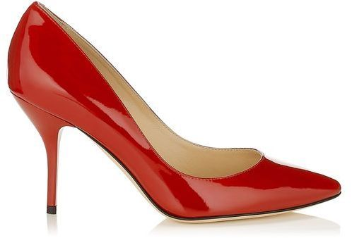 $595, Red Leather Pumps: Jimmy Choo Mei Patent Leather Almond Toe Pumps. Sold by Jimmy Choo. Click for more info: https://lookastic.com/women/shop_items/68058/redirect