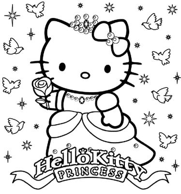 Hello kitty happy birthday princess coloring sheet hello for Hello kitty happy birthday coloring pages