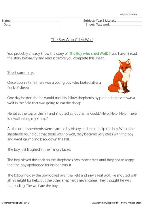 reading comprehension the boy who cried wolf worksheet english printable. Black Bedroom Furniture Sets. Home Design Ideas