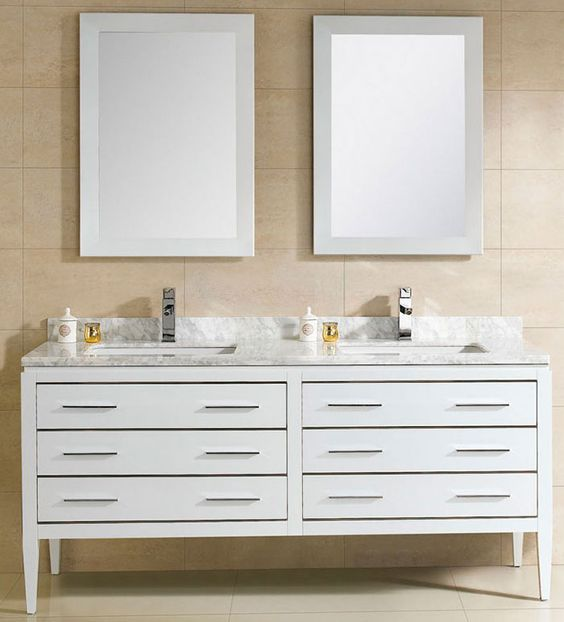 At adoos 60 inch modern double sink bathroom vanity white finish ceramic top http www for Best finish for bathroom cabinets