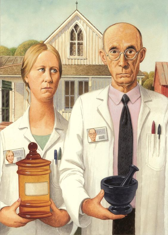 ☤ ☞ MD ☆☆☆ Pharmacy Humor with American Gothic.