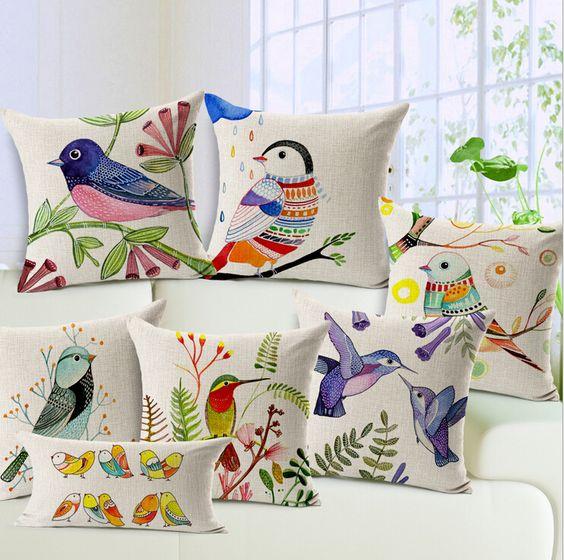 aves fresca almohada decorativa pintura nórdica de lino 45 x 45 pájaros de colores - para los niños